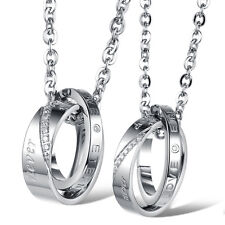 2020 Cool Eternal love Zirconia couple pendant necklace stainless steel Jewelry