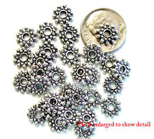 50 ANTIQUE SILVER FLAT BEADED RONDELLE BEADS 8MM