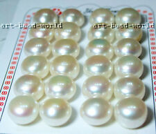 12-13mm white button genuine freshwater pearl half drilled loose beads USA EUB