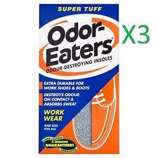 3 x ODOR - EATERS SUPER TUFF DEODORISING INSOLES EVERYDAY WEAR  WASHABLE