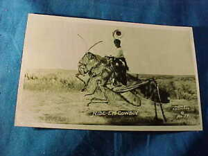 1944 BOY RIDING GIANT GRASSHOPPER Real Photo EXAGGERATION POSTCARD
