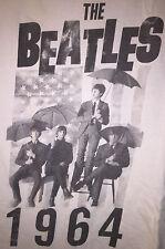 Official The Beatles Medium White TShirt Band Name Band Members Flag Photo 1964