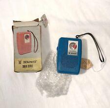 Vintage TEMPEST Plastic Transistor Radio Blue New Vintage Stock In Original Box