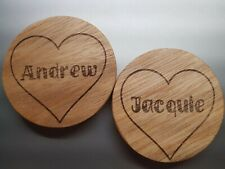 Custom Engraved Heart Name Wooden Coasters