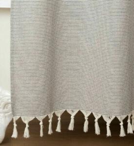 Hearth & Hand Magnolia Gray Striped Fringe Shower Curtain