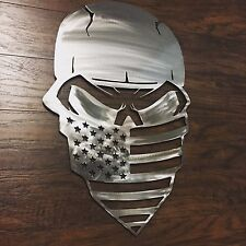 Skull with American Flag Bandanna  Metal Wall Art Decor Man Cave