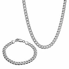 "Mens Bracelet + Necklace Set 9k White Gold Filled 21"" Chain Set Gift"