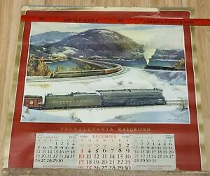 Vintage 1950 PRR Pennsylvania Railroad Train Calendar