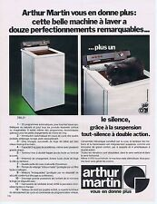 PUBLICITE ADVERTISING 045 1973 ARTHUR MARTIN machine à laver avec le chat