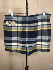 New listing Vintage 1970's Made In California Blue White Yellow Plaid Surf Swim Trunks 32 M