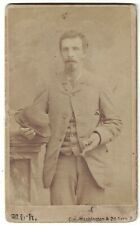 Cdv Photo Gentleman with Bowler Hat & Stick Named on back - Minn. Mn 1853 Birth