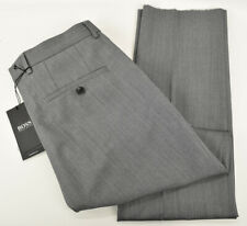 HUGO BOSS Medium Gray MADISEN Flat Front Virgin Wool Pants Size 30 R NWT
