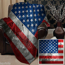 Diseño de la bandera de Estados Unidos Grunge Manta Polar Suave Cubierta Manta Cama L & sprints
