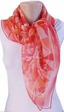 "Cartier 100% Silk Chiffon Scarf NEW 34"" sq Red Coral Orange - Diamond Gems  111"