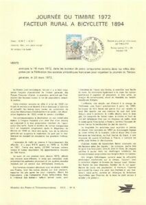 1er jour Timbre sur document philatélique - Facteur rural a bicyclette 1894