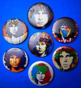 The Doors Jim Morrison Set Pop Art di 7 spille cm. 5,7 nuove rarissime