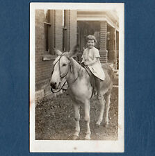 RPPC 1910s/1920s Cute Little Girl On Donkey Or Burro Outside Brick House UNUSED