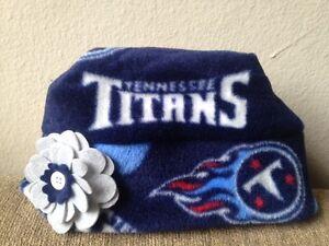 Tennessee Titans Fleece Flower HAT Handmade Newborn Baby Girls Children, Adults