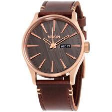 Nixon Sentry Gunmetal Dial Leather Strap Men's Watch A105200100