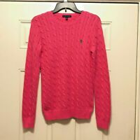 Ralph Lauren Women's Pink Cable Knit Cotton Long Sleeve Sweater Size M Medium