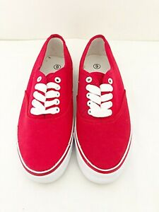 New Girls Red Casual Canvas White Lace Up Trainers UK Size 3, 6