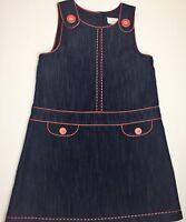 NEXT Girls Dark Wash Denim Red Piping A-line Dress Age 5-6 yrs 116 CM |PipRose