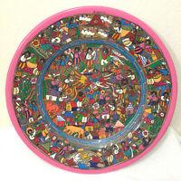"Vtg Acapulco Mexican Terracotta Festive Folk Art Pottery Plate Hand Painted 16"""