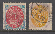 Danish West Indies Sc 6, 9 used. 1874-79 3c & 7c Numerals, small faults