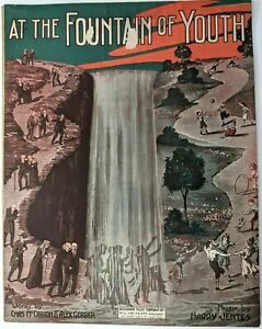 AT THE FOUNTAIN OF YOUTH Vintage 1915 Sheet Music Ragtime Piano Voice