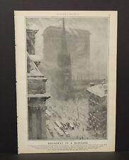 Harper's Weekly Single Pg Broadway in a Blizzard  c.1890s B12#11