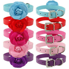 Flower Studded Dog Collar Female Dogs Cat Puppy Show Collar for French Bulldog