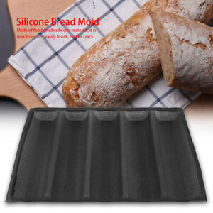 French Baguette Pan Non-Stick Bread Baking Loaves Mold Cooking Silicone Tray GB