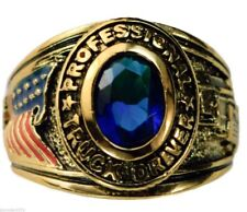 Trucker USA Mens Pinkie Ring Ladies Blue Sapphire Simulated 18k Overlay Size 5
