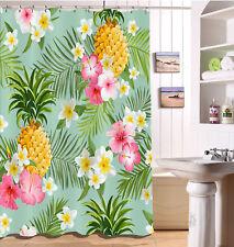 Shower Curtain Liner Waterproof Fabric Tropical Pineapple Flowers Bathroom Hooks