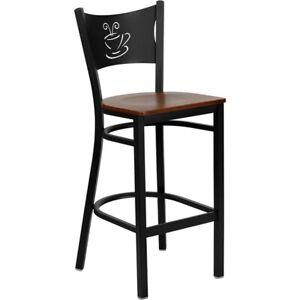 Flash Metal Restaurant Bar Stool, Black, Cherry - XU-DG-60114-COF-BAR-CHYW-GG