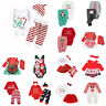 Newborn Baby Boy Girl Christmas Romper Bodysuit Jumpsuit Pants Outfits Clothes