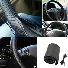 Car Truck Leather Steering Wheel Cover With Needles and Thread Black DIY B9