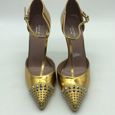 Gucci Metallic Gold Studded Pointed Toe T-Strap Heels Size 38.5/8.5
