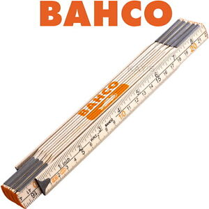 BAHCO 2m Wooden Rule Metric & Imperial Folding Measuring Ruler Made From Birch