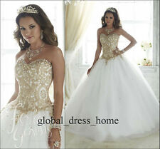 Sweet Gold Applique Wedding Formal Prom Ball Gown 15 16 Year Quinceanera Dresses