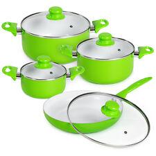Bateria de cocina ollas 8 piezas con tapas cristal sartén verde