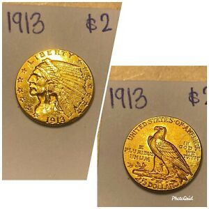 US Indian Head Quarter Eagle Gold Coin - 1913 (2 Available)