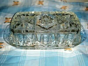 Vintage Crystal Clear Glass Butter Dish Star and Pinwheel Design Cottagecore
