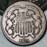 1871 Two Cent Piece 2C Higher Grade Civil War Good Date US Copper Coin CC5662