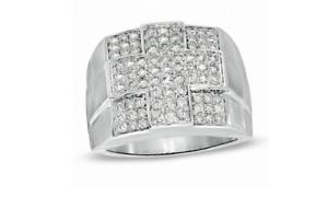 1.03CT Brilliant Cubic Zirconia In 925 Silver Men's Amazing Elegant Cross Ring