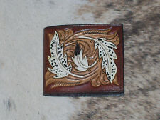 MENS WALLET CUSTOM CARVED CARVED FLORAL TOOLED LEATHER WESTERN RODEO BILLFOLD #3
