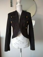 Women's TOPSHOP Black Military Army Style Jacket / Coat 10