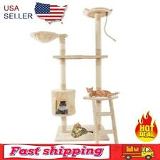 New listing 60 inch Solid Cute Sisal Rope Plush Cat Climbing Tree Cat Tower Beige
