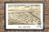 Old Map of El Reno, OK from 1891 - Vintage Oklahoma Art, Historic Decor