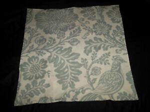 Pottery Barn Arista Euro Sham Porcelain Blue Natural Jacobean Floral Bird Flower